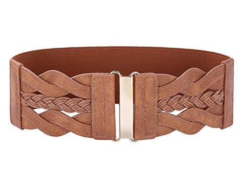 Women's Braided Belts Woven Elastic Stretch Belt Vintage Belt(Brown,3XL) (Brown Belt Women Braided)