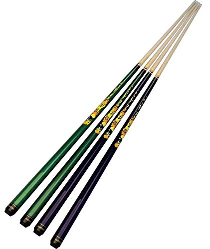Jian Ying 19 20 21 oz 9 Ball Pool Cue Stick 2-Piece Joint 8Ball Hardwood Canadian Maple Women Billiards Cues Kit (Green, 19 OZ) ()