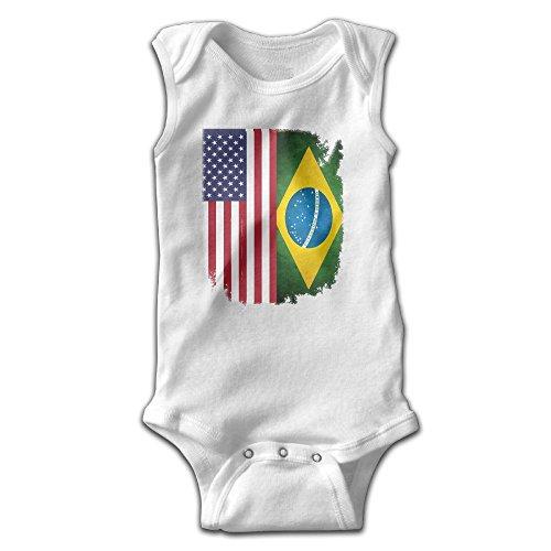 Brazil Flag of The United States Infant Baby Boys Girls Infant Creeper Sleeveless Romper Bodysuit Onesies Jumpsuit (Brazil Sleeveless)
