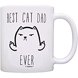 Funny Cat Gift Best Cat Dad Ever Rude Middle Finger Cat Gift Coffee Mug Tea Cup Dad