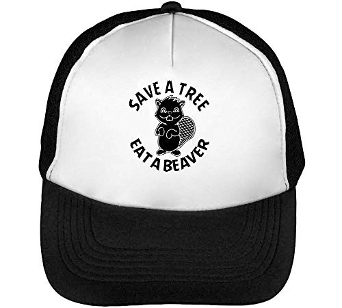 Beaver Snapback Eat Gorras Hombre Beisbol Tree Save Blanco Negro 7SnFB