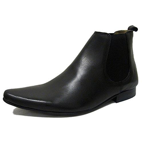 Mens IKON Black 100% Leather Chelsea Boot US (Mod Chelsea Boots)