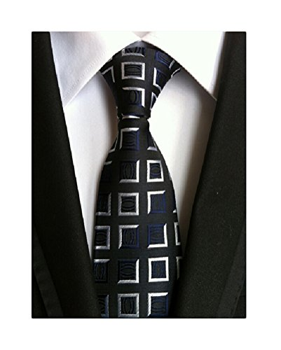 MINDENG Mens Business Formal Ties Checks Woven Silk Necktie Wedding Suit Tie (Silk Suit Wedding)