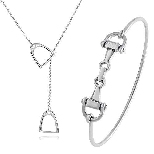 SENFAI Horse Snaffle Bit Hook Clasp Charm Bracelet Bangle Jewelry (Bracelet + Necklace, Rhodium-Plated-Base-Metal)