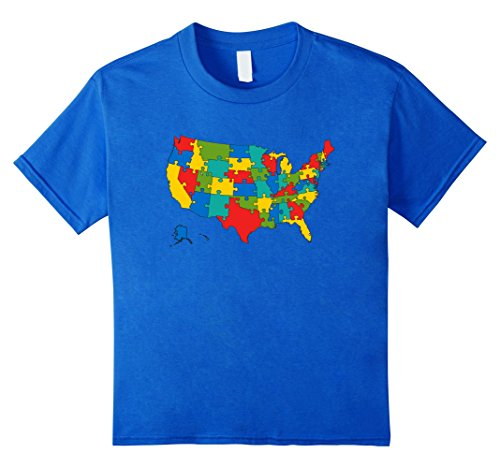 Price comparison product image Kids United States Puzzle Map T-Shirt All The States USA School 6 Royal Blue