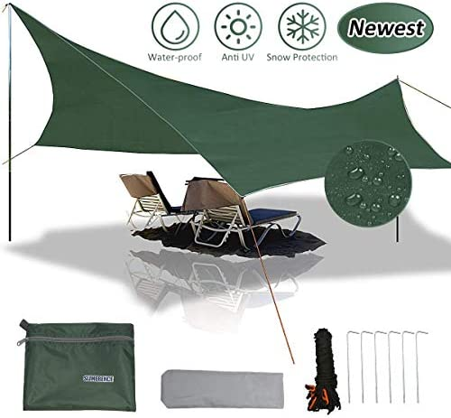 None Brand Pumoes Waterproof Camping Tarp, Hammock Rain Fly Tent Tarp Windproof Anti-UV for Camping Hiking Survival Gear Lightweight Compact Sun Shelter Mat Backpacking and Outdoor Adventure
