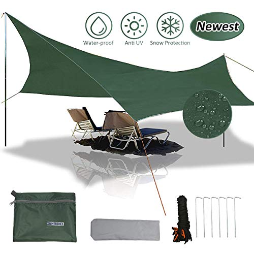 🥇 gracosy Lona de Camping Toldo Camping Impermeable Lona de Playa Portátil 240×220cm 420D Tela Oxford Anti-UV Anti-Lluvia Duradero con Clavos de Aluminio y Cuerda