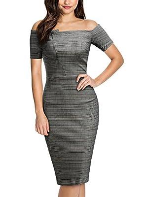 Miusol Women's Off Shoulder Short Sleeve Business Bodycon Pencil Dress