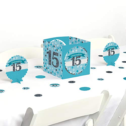 Big Dot of Happiness Quinceanera Teal - Sweet 15 - Birthday Party Centerpiece & Table Decoration -