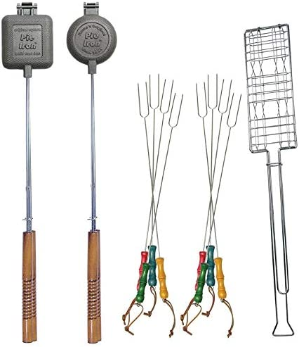 11 Pc Firepit Cookout Utensil Set - Forks, Pie Irons & More