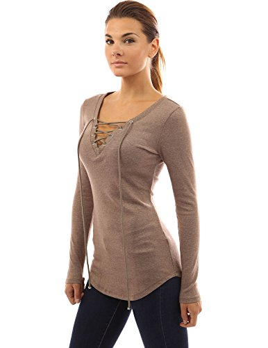 Rapid Patty - PattyBoutik Women V Neck Lace Up Curved Hem Tunic (Light Brown Small)