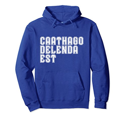Unisex Cato Classical Latin Saying Carthago Delenda Est Hoodie Small Royal Blue