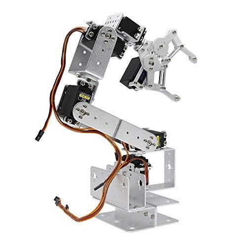 Silver ROT3U 6DOF Aluminium Robot Arm Mechanical Robotic Clamp Claw Kit with MG996R Servos 25T Metal Disc Horns and Screw for Arduino UNO MEGA2560