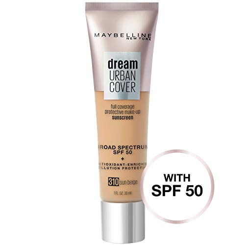 - Maybelline New York Dream Urban Cover Flawless Coverage Protective Makeup, Liquid Foundation, Sunscreen, with Broad Spectrum SPF 50 & Antioxidant-Enriched Pollution Protection, Sun Beige, 1 fl. oz.