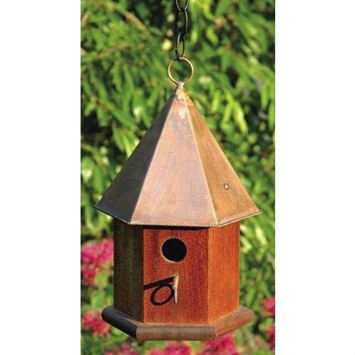 StarSun Depot Solid Mahogany Wood Songbird Birdhouse with Shiny Copper -