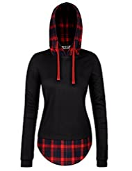 DJT Womens Check Contrast Long Sleeve Pullover Hoodie Top