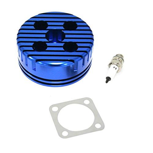 (JRL CNC Cylinder Head And Spark Plug Set For Racing 49cc 60cc 66cc 80cc 2 Stroke Engine)