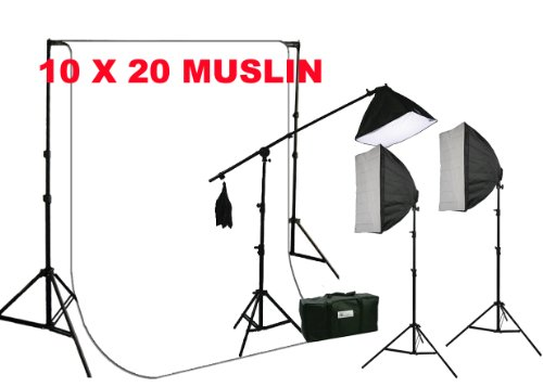 ePhoto Large 10 x 20 White Muslin Backdrop Support Stand with 2700 Watt 3 Softbox Photo Video Hair Boom Light Kit Case H604SB1020W by ePhotoinc