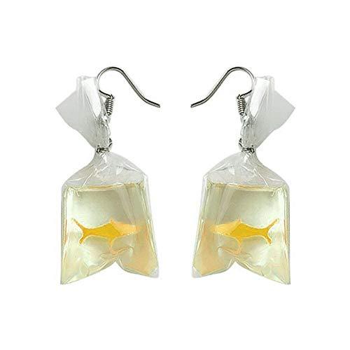 Celiy Women Funny Goldfish Water Bag Shape Dangle Hook Earrings Female Charm Jewelry (Yellow)