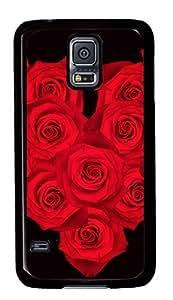 Diy Fashion Case for Samsung Galaxy S5,Black Plastic Case Shell for Samsung Galaxy S5 i9600 with Fourteen Roses