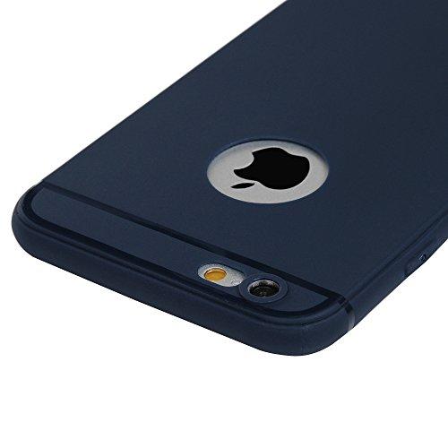 Mavis's Diary Coque iPhone 6/iPhone 6S TPU Souple Housse de Protection Étui Téléphone Portable Découpe du Logo Bleu Foncé Phone Case Cover+Chiffon