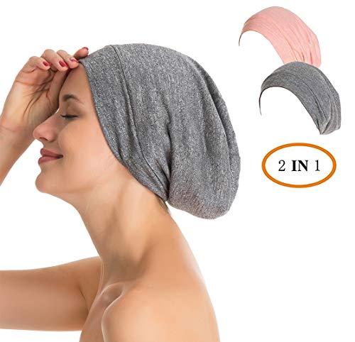 Slap Night Cap Sleep Hat - 2 Packs Women Organic Bamboo Cotton Satin Silk Satun Satin lined Bonnet Slouchy Summer Scarf Hair Cover Beanie For Women Men Lady Lightweight Light Thin Jersey Chemo