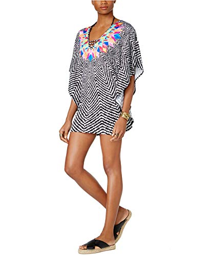 Bar III Women's Feather Daze Caftan Tunic Swimwear Cover up (M) from Bar III