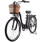 """NAKTO Adult Electric Bicycles Ebikes Women 26"""" Electric Bike Comes a Detachable 36V 10Ah Lithium Battery & Battery Charger (Camel Black)"""