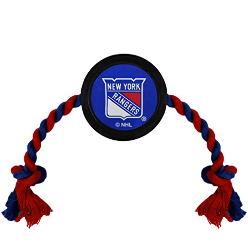 New York Rope - NHL New York Rangers Puck Toy for Dogs & Cats. Play Hockey with Your Pet with This Licensed Dog Tough Toy Reward!