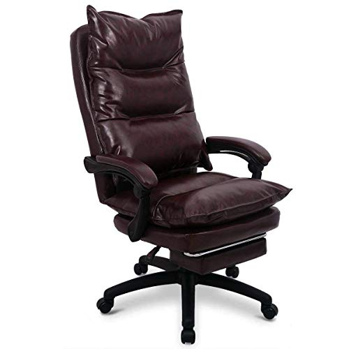 Amooly Ergonomic Computer Chair Home Office Desk Chair High Back Swivel Chair Adjustable Height Home Task Chair with Arms in Brown
