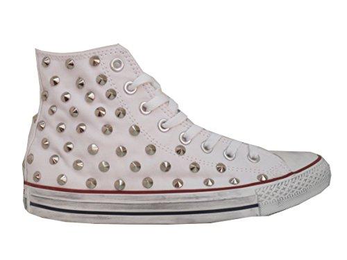 Converse All Star Borchie Borchiate Bianco Optical White(Prodotto Artigianale)