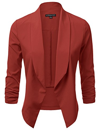 JJ Perfection Women's Lightweight Chiffon Ruched Sleeve Open-Front Blazer Brick S