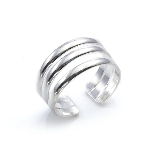 (Silverly Women's .925 Sterling Silver Triple Band Midi Finger Adjustable Toe Ring)