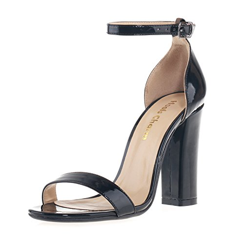Women's Strappy Chunky Block Sandals Ankle Strap Open Toe High Heel for Dress Wedding Party Evening Office Shoes Patent Leather Black Size 7 ()