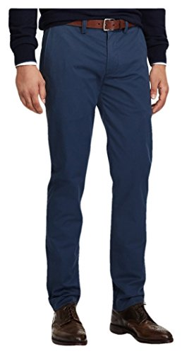 - RALPH LAUREN Polo Men's Stretch Straight Fit Bedford Cotton Twill Flat Front Chino Pants (Blue Eclipse, 32x30)