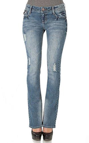 WallFlower Women's Legendary Bootcut Jeans, 0, Vintage Prep Destructed Bootcut Jeans