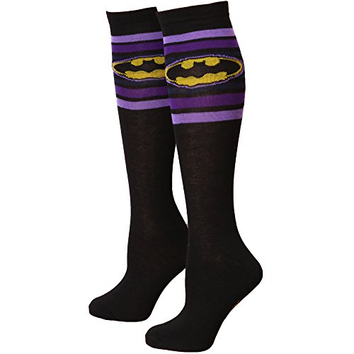 (Batman Logo Purple Striped Women's Knee High)