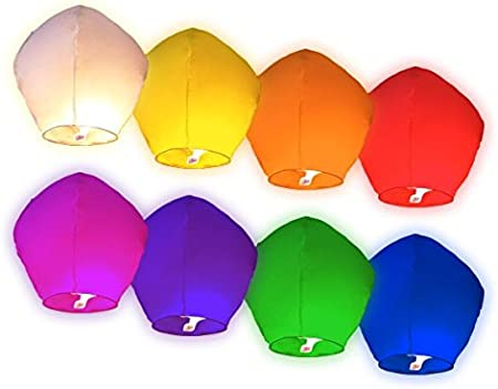 Lot de 50 Lanternes volantes multicolors color/ées chinoise f/ête soir/ée mariage romantique /évenement festival luminaire en plein air ciel