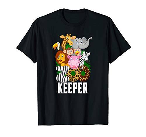 Zookeeper T-shirt Funny Cartoon Animals Lover Gift for kids ()