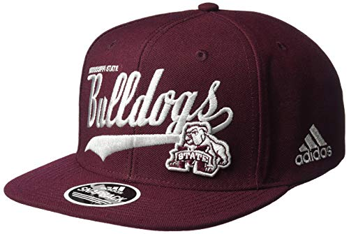Adjustable Hat Throwback Structured - adidas NCAA Mississippi State Bulldogs Men's Tail Sweep Logo Structured Adjustable Hat, Maroon, One Size