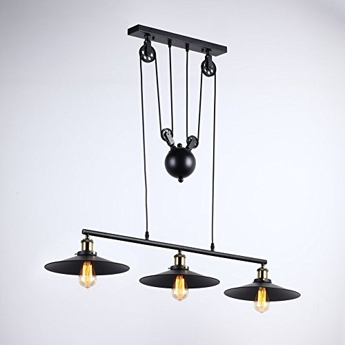 Onepre Industrial Vintage 3 Lights Pulley Pendant Light Rise and Fall Pendant Lighting Antique Adjustable Black Chandelier ceiling lights For Kitchen Island Bar Hallway Dining Living Room