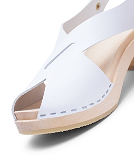 Sandgrens Swedish High Heel Wood Clog Sandals For Women | Morocco White kFMXpBxo7