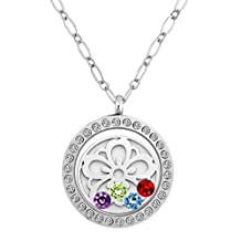 Charmed Craft 4 Birthstone Flower Living Memory Floating Charm Locket Necklace Pendant 30mm Glass Magnetic