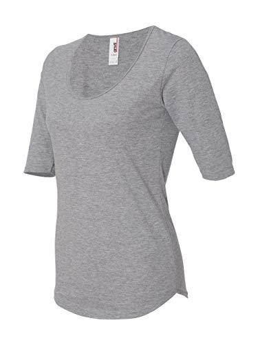 Anvil Slim T-shirt - Anvil Ladies Triblend Deep Scoopneck 1/2 Sleeve T-Shirt. 6756L - X-Large - Heather Grey