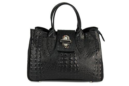 Belli® Womens Italiano in vera pelle borsa Classic City Style goffratura coccodrillo nero–�?6,5x 24x 18cm (L x A x P)