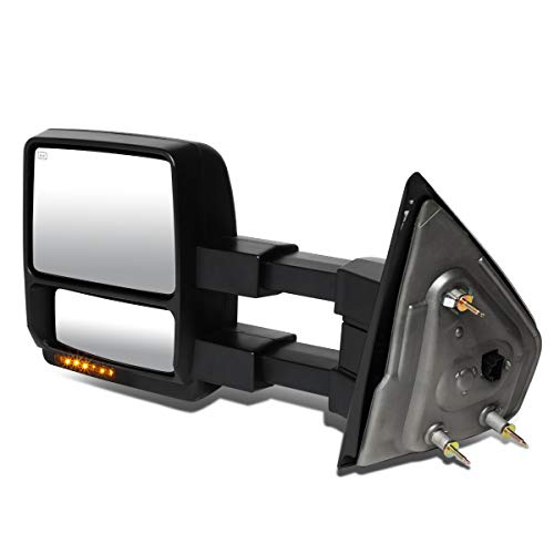 DNA MOTORING TWM-006-T888-BK-AM-L Driver Powered+Heated+LED Towing Mirror [for 04-14 Ford F150]
