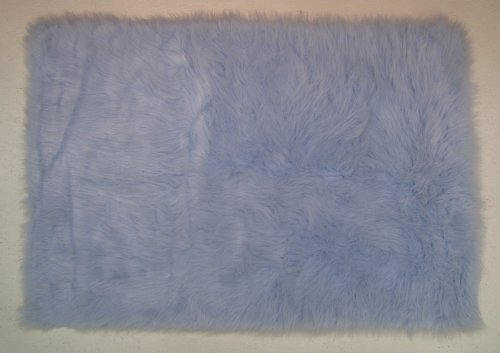 LA Rug FLK-011 Fun Rugs Flokati Area Rug, 3 by 5-Feet, Light Blue