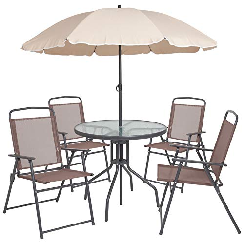 Umbrellas Patio Furniture - Flash Furniture Nantucket 6 Piece Brown Patio Garden Set with Table, Tan Umbrella and 4 Folding Chairs