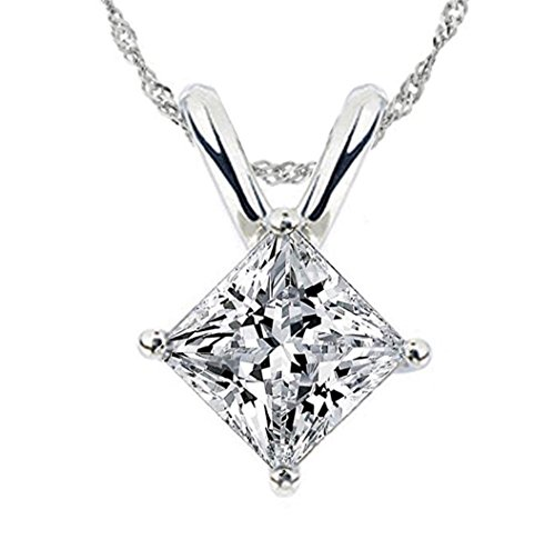 - 101 Facets Realistic 1.5 Carat Princess Cut Simulated Diamond Solitaire Pendant Singapore Twist Necklace 925 Silver 24inches