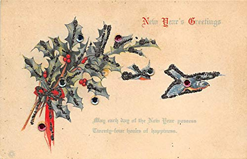 New Years Day Postcards Old Vintage Antique Post Cards Beads and Glitter on card Unused